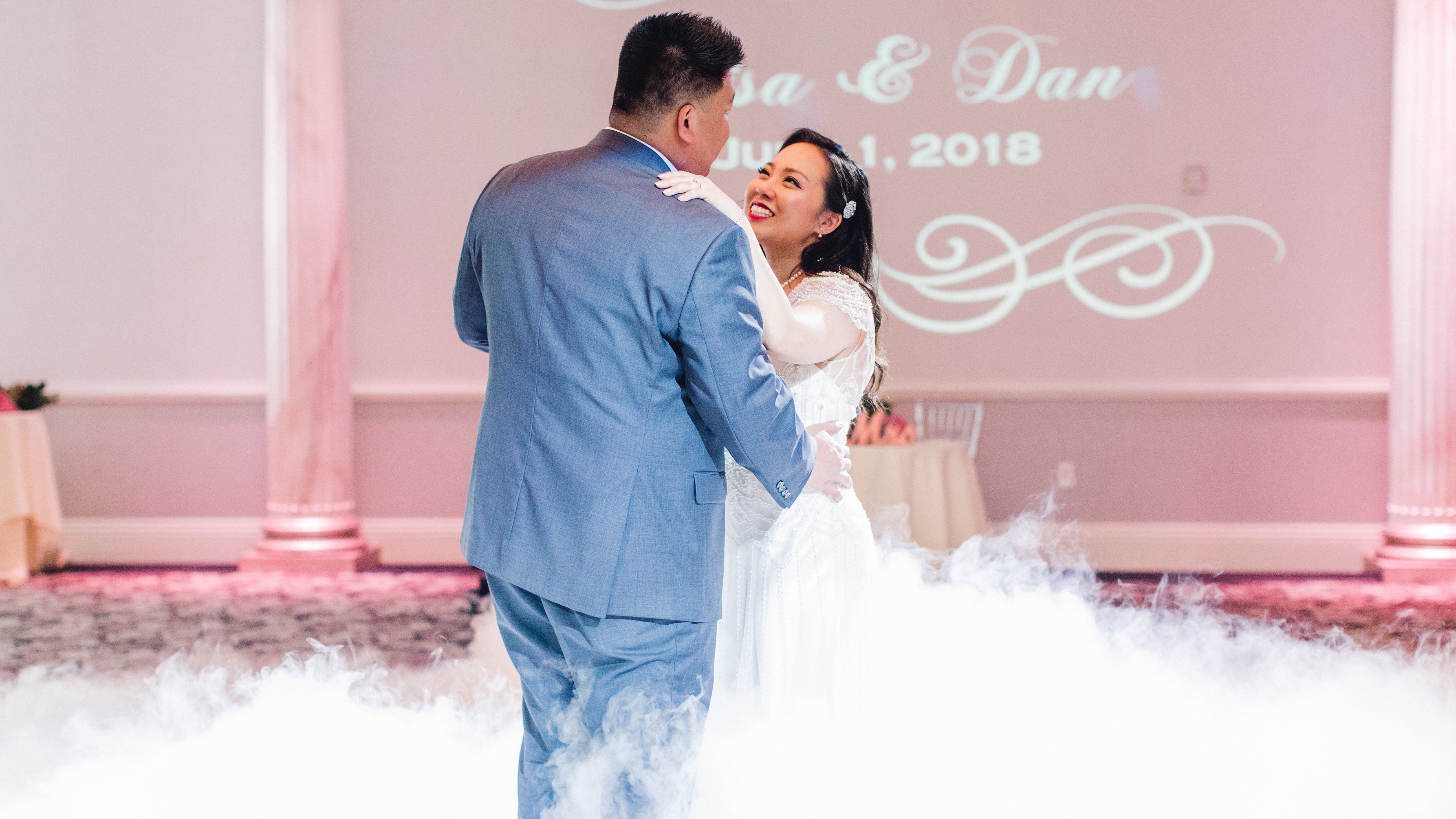 dancing on the clouds, projection mapping, best wedding djs, delaware, wedding entertainment, wilmington de