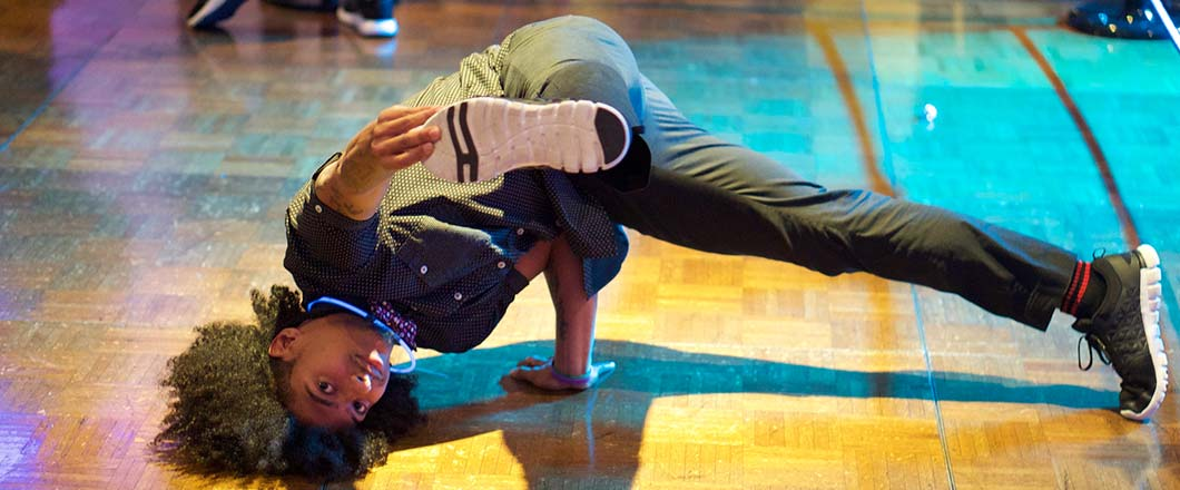 A breakdancer at a Wilmington, DE event